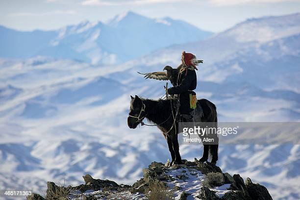Kazakh golden eagle hunter in Altai mountains