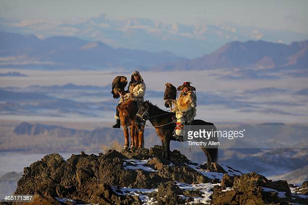 Kazakh golden eagle hunters in Altai mountains