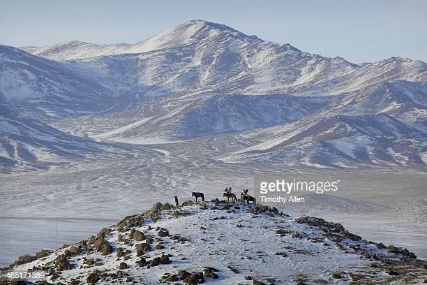 Kazakh Golden eagle hunters in Altai mountains