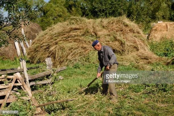 Kazakh man using a scythe to mow grass with stacks of hay in Saty village Kazahkstan