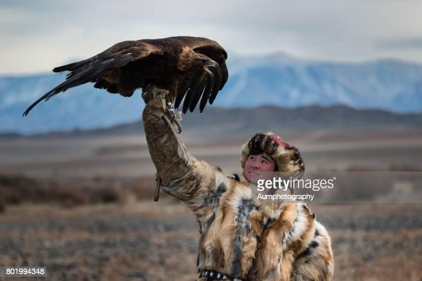 Kazakh Nomads use the eagle hunting for food.