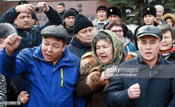 Kazakh opposition members protest in Almaty southeastern Kazakhstan on February 22 2020 Police in Kazakhstan detained up to a hundred activists...
