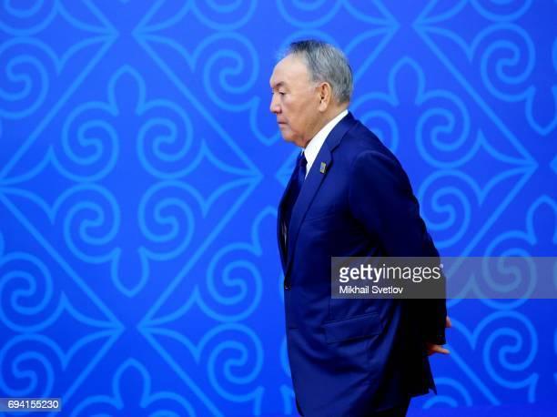 Kazakh President Nursultan Nazarbayev attends the SCO Summit Meeting in Astana, Kazakhstan, June 2017. Russian President Vladimir Putin and Chinese...