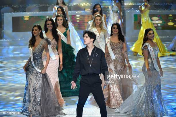 Kazakh singer Dimash Kudaibergen performs onstage during the 68th Miss World contest final on December 8 2018 in Sanya Hainan Province of China