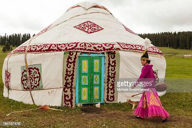 Kazakh Woman and Yurt