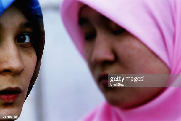 Kazakh women gather for Friday Muslim prayers in the Great Mosque on August 11 2006 in Almaty in the central Asian republic of Kazakhstan Fifteen...