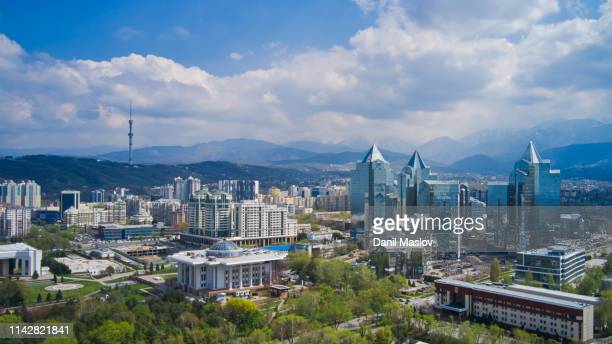 kazakhstan almaty aerial landscape - kazakhstan stock pictures, royalty-free photos & images