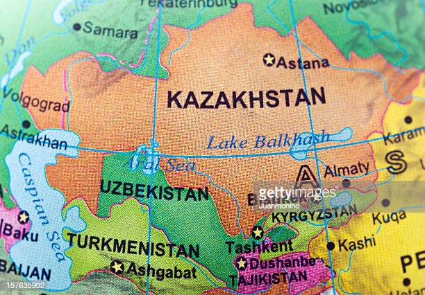 kazakhstan and neighbor countries - kazakhstan stock pictures, royalty-free photos & images