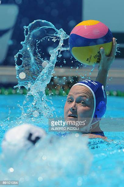 Kazakhstan Anna Zubkova vies with US Lauren Wenger during their 1st round waterpolo game on July 19 2009 at the FINA World Swimming Championships in...