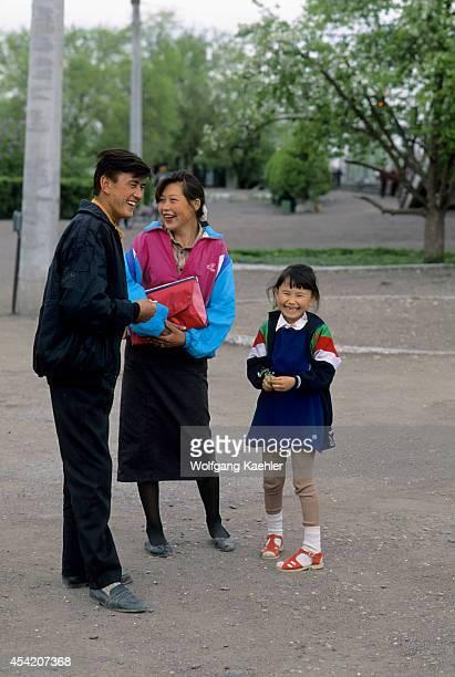 Kazakhstan Chu Train Station Local Family