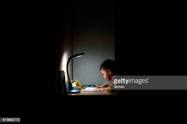 Kazakhstan - Cute schoolboy doing homework at night