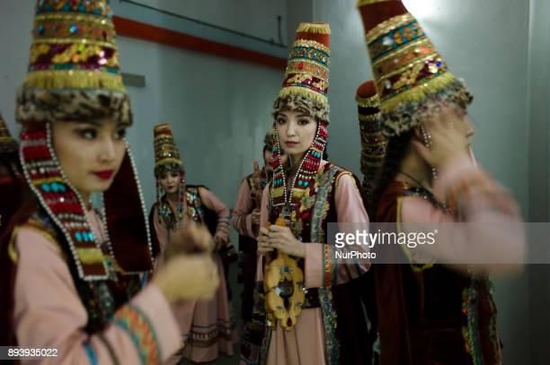 Kazakhstan dancers pictured during the KL GENTA 2017 at Panggung Anniversary Taman Botani Perdana in Kuala Lumpur Malaysia on December 16 2017 The KL...