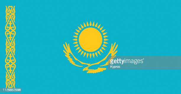 kazakhstan flag - kazakhstan stock pictures, royalty-free photos & images