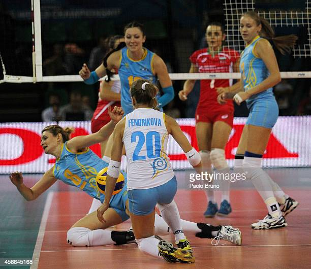 Kazakhstan players in action during the FIVB Women's World Championship pool F match between Bulgaria and Kazakhstan on October 4 2014 in Modena Italy