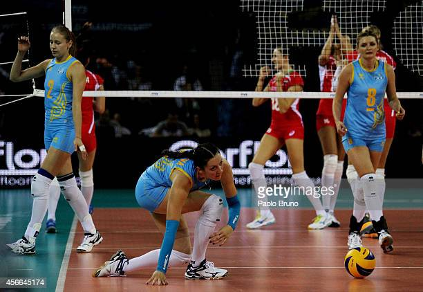 Kazakhstan players show their dejection during the FIVB Women's World Championship pool F match between Bulgaria and Kazakhstan on October 4 2014 in...