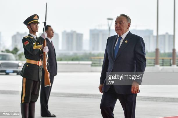 Kazakhstan President Nursultan Nazarbayev arrives at the Hangzhou Exhibition Center to participate in the G20 Summit in Hangzhou on September 4,...