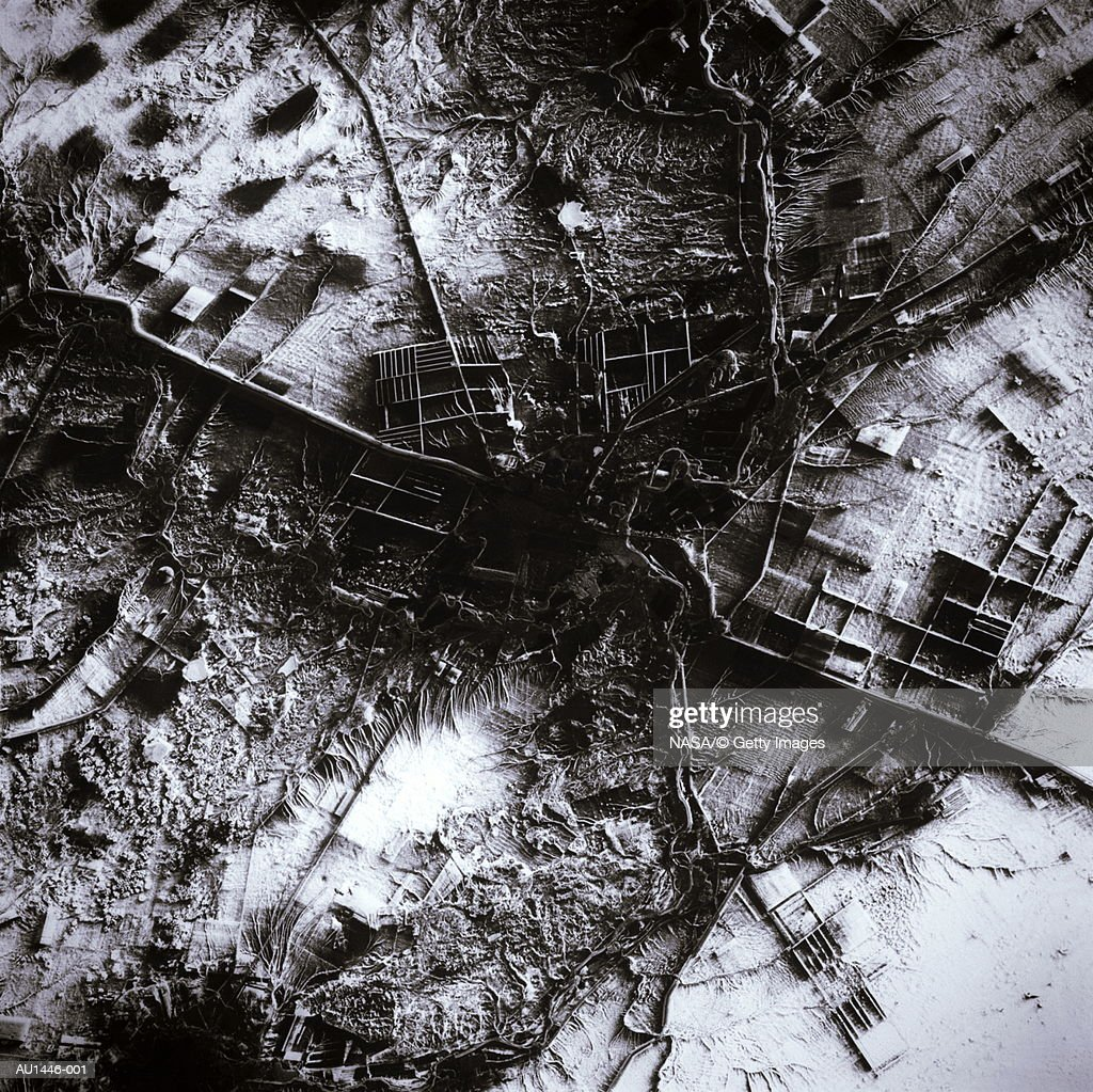 Kazajistán, Qostanay, vista de satélite (mejora) : Foto de stock