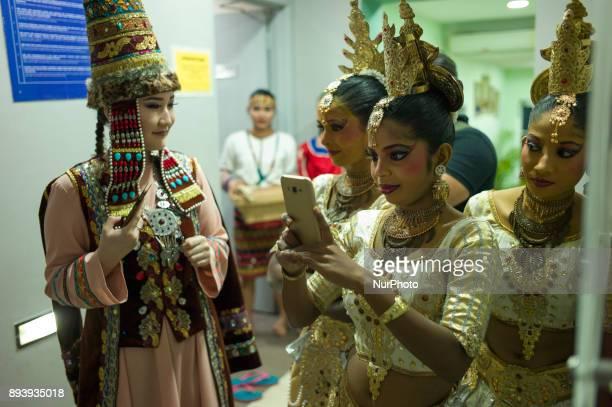 Kazakhstan Sri Lankan dancers pictured during the KL GENTA 2017 at Panggung Anniversary Taman Botani Perdana in Kuala Lumpur Malaysia on December 16...