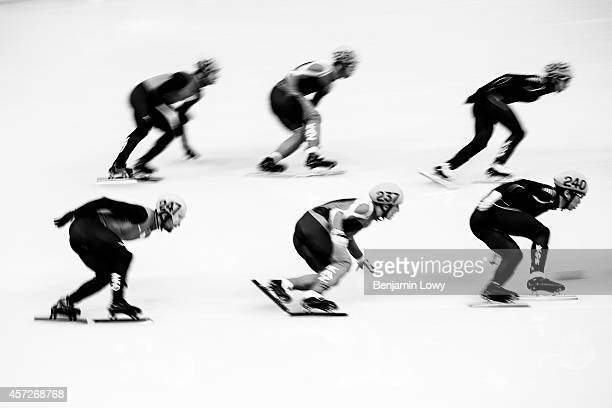 Kazakhstan the United States South Korea and the Netherlands compete in the Short Track Speed Skating Men's 5000m Relay Semifinal on day 6 of the...