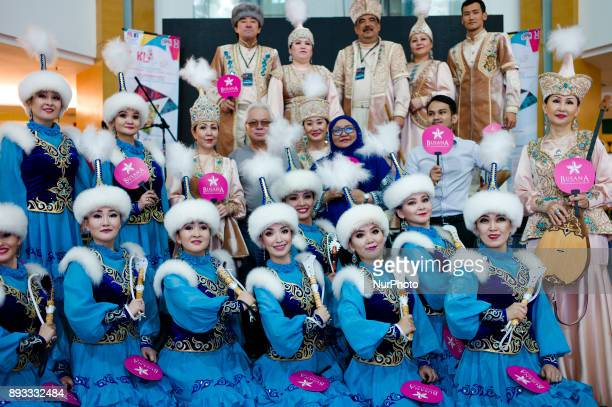 Kazakhstan women dressed in traditional costume during to promote the upcoming event 'Kuala Lumpur 2017 International Drum and Dance Festival' which...