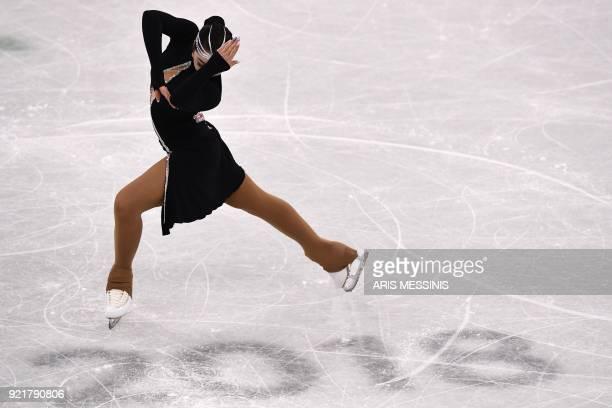 TOPSHOT Kazakhstan's Aiza Mambekova competes in the women's single skating short program of the figure skating event during the Pyeongchang 2018...