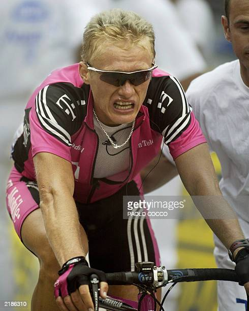 Kazakhstan's Alexandre Vinokourov arrives at the end of the 15th stage of the 90th Tour de France cycling race between BagneresdeBigorre and...
