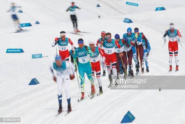 TOPSHOT Kazakhstan's Alexey Poltoranin Norway's Martin Johnsrud Sundby Norway's Niklas Dyrhaug Russia's Alexey Chervotkin Russia's Alexander...