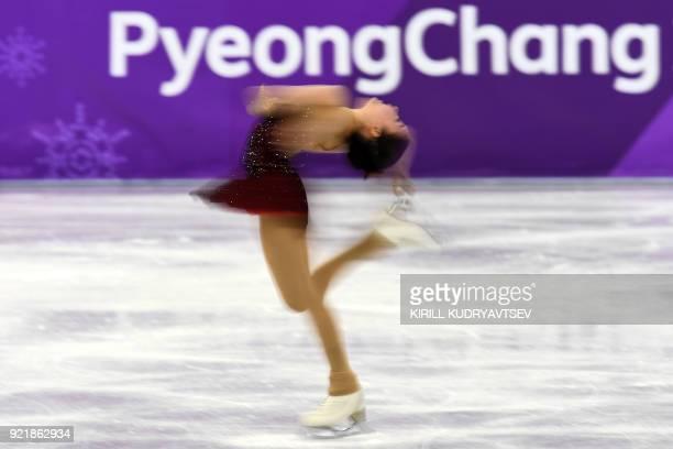 TOPSHOT Kazakhstan's Elizabet Tursynbaeva competes in the women's single skating short program of the figure skating event during the Pyeongchang...