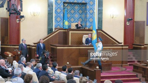 Kazakhstan's new president KassymZhomart Tokayev takes oath during his oath taking ceremony at joint session of parliament with the attendance of...