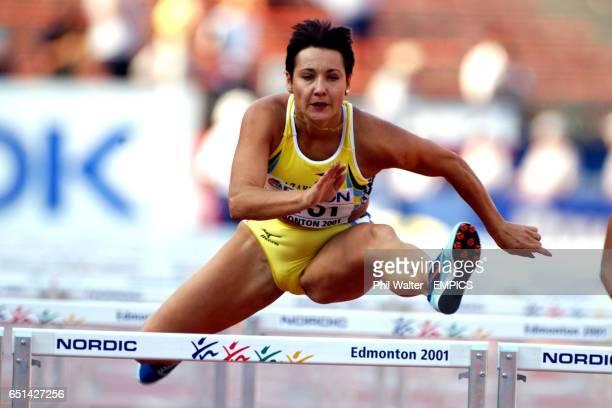 Kazakhstan's Olga Shishigina in action in the heats of the Womens 100 metre hurdles