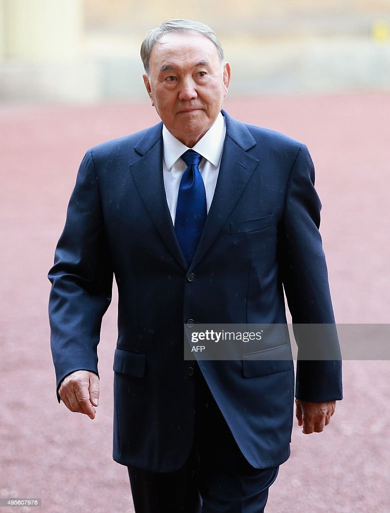 Kazakhstan's President Nursultan Nazarbayev arrives at Buckingham Palace in London on November 4, 2015. Britain and Kazakhstan signed trade deals worth 3 billion GBP (4.2 billion euros, 4.6 billion USD) on November 3 as London rolled out the red carpet for the country's autocratic President Nursultan Nazarbayev. JACKSON