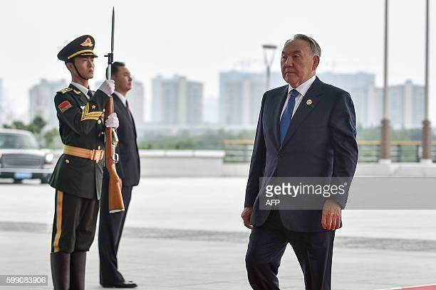 Kazakhstan's President Nursultan Nazarbayev arrives for the G20 Summit at the International Expo Center in Hangzhou on September 4, 2016. G20 leaders...