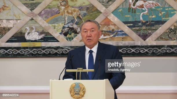 Kazakhstan's President Nursultan Nazarbayev speaks during a joint press conference with Georgian President Giorgi Margvelashvili after their meeting...