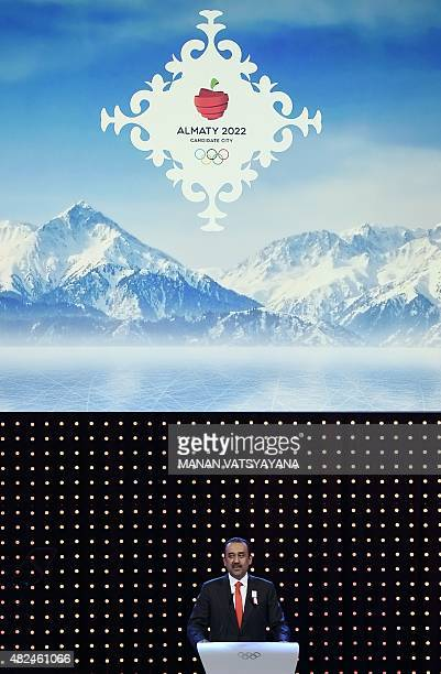 Kazakhstan's Prime Minister Karim Massimov speaks during the bid presentation to host the 2022 Winter Olympics in the Kazakh city of Almaty at the...