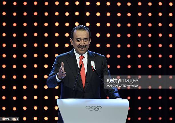 Kazakhstan's Prime Minister Karim Massimov speaks during the bid presentation to host the 2022 Winter Olympics in the Kazakh city of Almaty at the...
