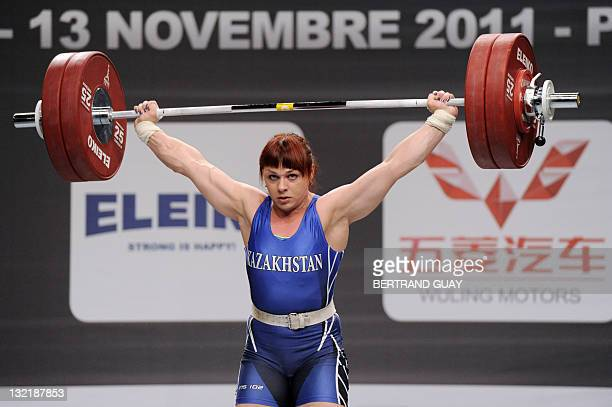 Kazakhstan's Svetlana Podobedova competes during the 2011 World Weightlifting Championships' finals in the 77 kg women's weight class on November 10...