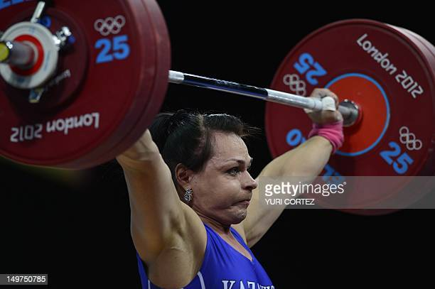 Kazakhstan's Svetlana Podobedova competes during the women's 75kg group A weightlifting event of the London 2012 Olympic Games at The Excel Centre in...