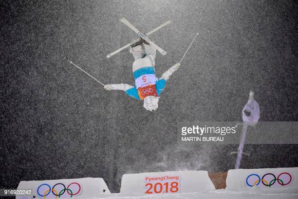 TOPSHOT Kazakhstan's Yulia Galysheva competes in the women's moguls final 2 during the Pyeongchang 2018 Winter Olympic Games at the Phoenix Park in...