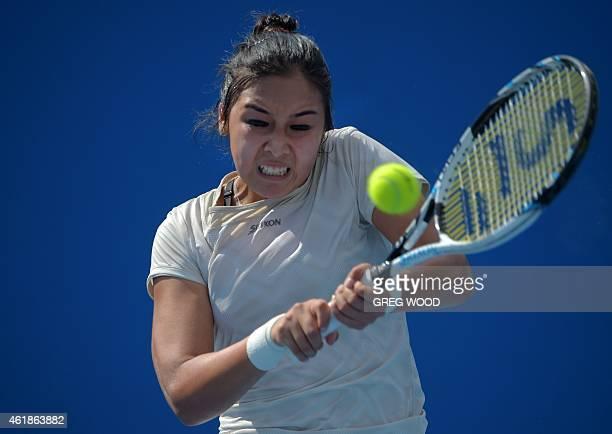 Kazakhstan's Zarina Diyas plays a shot during her women's singles match against Slovakia's Anna Schmiedlova on day three of the 2015 Australian Open...