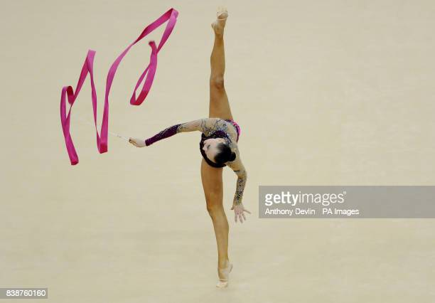 Kazakstan's Anna Alyabyeva performs with the Ribbon during the Visa International Gymnastics at the North Greenwich Arena London