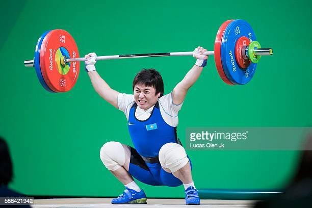 Kazakstan's Zhazira Zhapparkul competes in the snatch portion of the women's 69kg weightlifting competition at the 2016 summer Olympic Games in Rio...