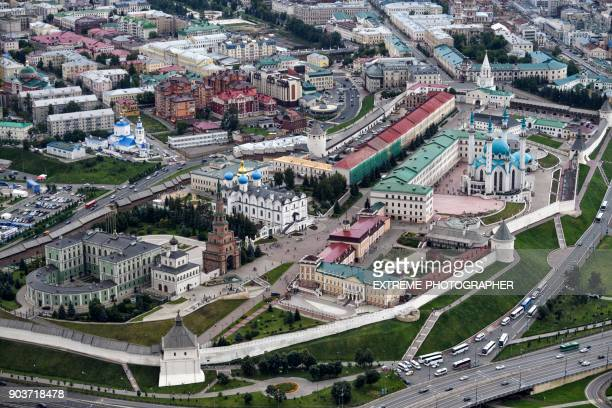kazan from the air - kul sharif mosque stock pictures, royalty-free photos & images