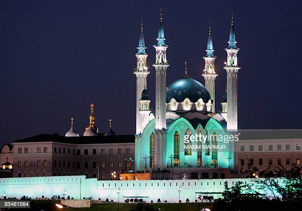 The Kul Sharif mosque and Church of the Annunciation at the Kazan's Kremlin appears 25 August 2005 Russia's political elite this weekend pays tribute...