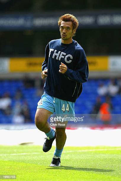Kazayuki Toda of Tottenham warms up before the FA Barclaycard Premiership match between Tottenham Hotspur and Blackburn Rovers on May 11 2003 at...