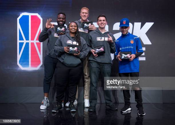 Kazeem Famuyide Brian Scalabrine Mz_LJ NickTheBullsFan and iamadamthe1st of Team Adam pose for a photo after the game against Team oFAB during the...