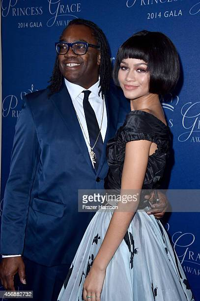 Kazembe Ajamu Coleman and actress Zendaya attend 2014 Princess Grace Awards Gala at Regent Beverly Wilshire Hotel on October 8 2014 in Beverly Hills...