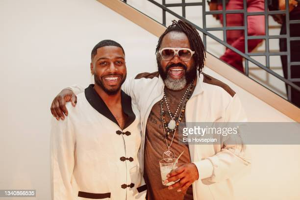 Kazembe Ajamu Coleman and Kwaku Osei-Acheampon attend The One And Only, Dick Gregory, Album Release Event on September 16, 2021 in Burbank,...