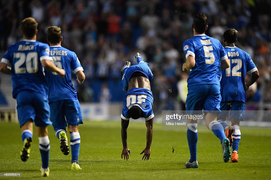 Kazenga LuaLua of Brighton celebrates after scoring the first goal of the season during the Sky Bet Championship match between Brighton & Hove Albion and Nottingham Forest at Amex Stadium on August 7, 2015 in Brighton, England.