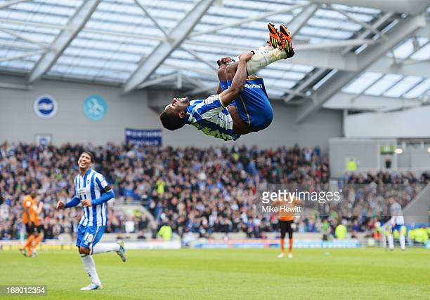 Kazenga LuaLua of Brighton Hove Albion celebrates as he scores their second goal during the npower Championship match between Brighton Hove Albion...