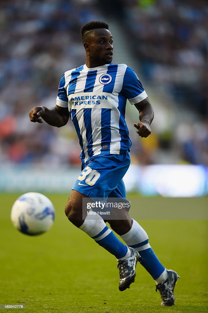 Kazenga LuaLua of Brighton in action during the Sky Bet Championship match between Brighton & Hove Albion and Nottingham Forest at Amex Stadium on August 7, 2015 in Brighton, England.
